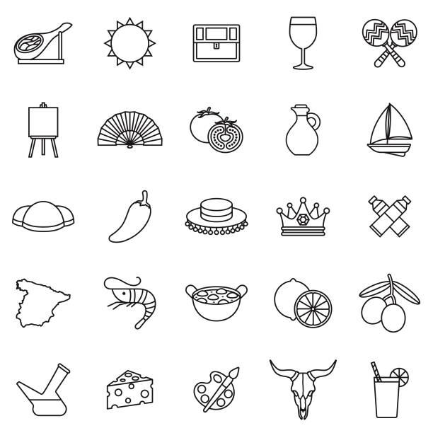 bildbanksillustrationer, clip art samt tecknat material och ikoner med spanien tunn linje outline ikonuppsättning - spain solar