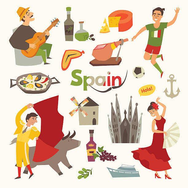 spain traditional symbols set. travel tourist element - スペイン料理点のイラスト素材/クリップアート素材/マンガ素材/アイコン素材