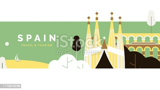 istock Spain travel and tourism poster design, pastel theme 1170819296
