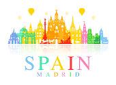 Spain, Madrid Travel Landmarks. Vector and Illustration