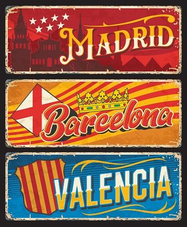 Spain Valencia, Madrid, Barcelona plates, tin sign