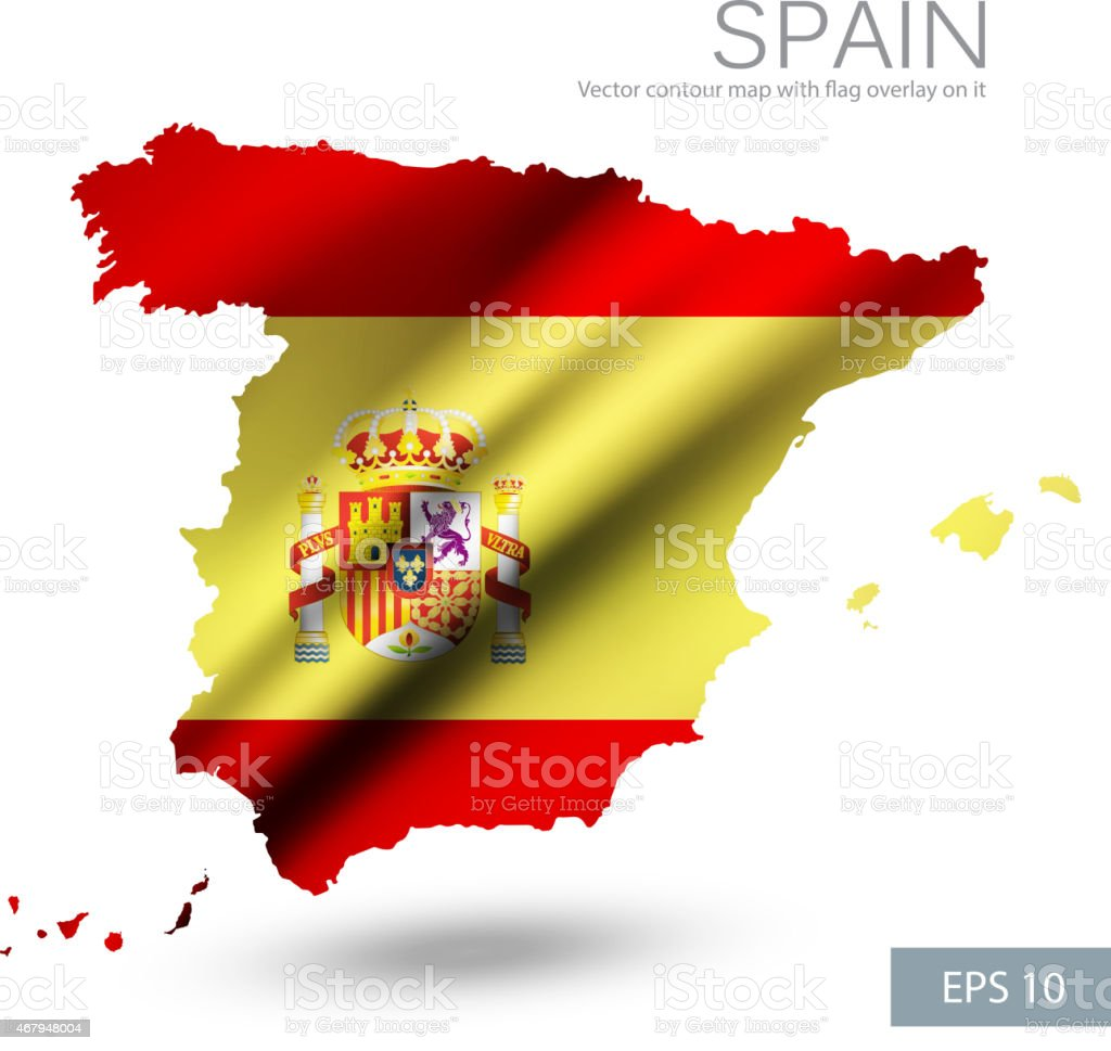 Spain Vector Contour Map With Spain Flag And Emblem Stock