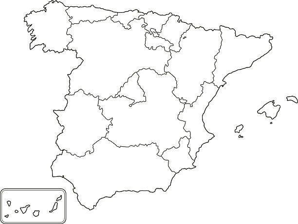 Map Of Spain Blank.Best Blank Map Of Spain Illustrations Royalty Free Vector