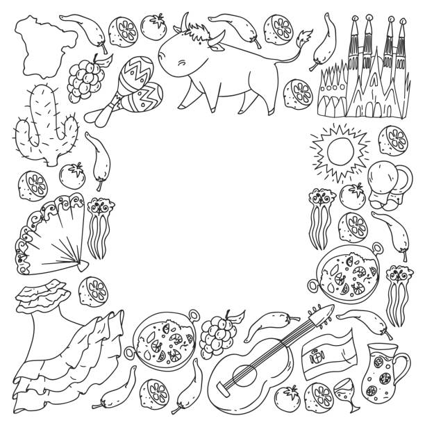 Spain vector pattern. Spanish traditional symbols and objects. vector art illustration