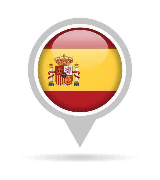 spain - vector round flag pin glossy icon - spanish flag stock illustrations, clip art, cartoons, & icons