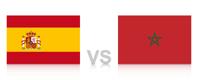 Spain vs. Morocco. Russia 2018. National flags with reflection isolated on white background.