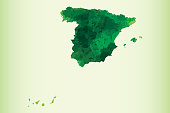 Spain watercolor map vector illustration of green color on light background using paint brush in paper