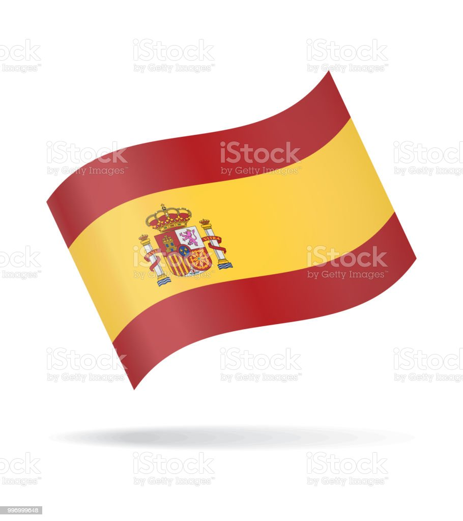 Spain - Waving Flag Vector Glossy Icon vector art illustration
