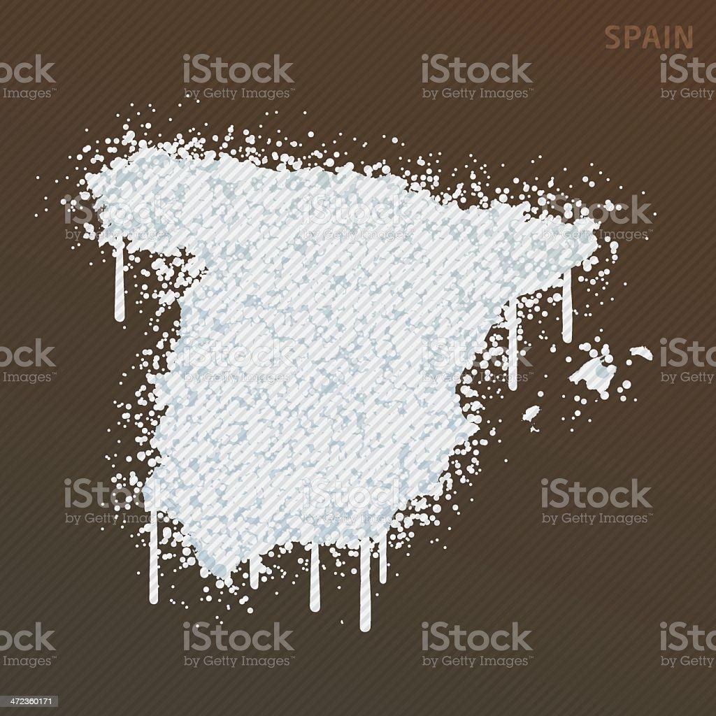 Spain White Paint Graffiti Map Grunge royalty-free stock vector art