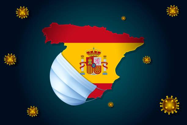 bildbanksillustrationer, clip art samt tecknat material och ikoner med spanien med spansk flagga i en medicinsk mask skyddar sig från ncov coronavirus - corona virus - spain solar