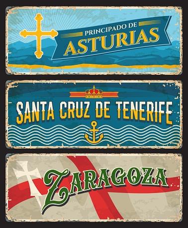 Spain Zaragoza, Tenerife island and Asturias signs