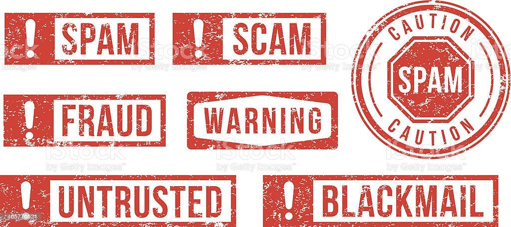 Spam, Scam, Fraud - rubber stamps vector art illustration