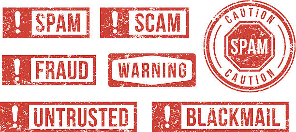 Spam, Scam, Fraud - rubber stamps vector art illustration