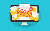 Spamming concept, a lot of emails on the screen of a monitor. Email box hacking, spam warning. Illustration