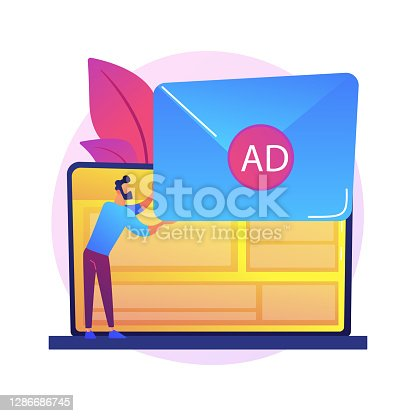 Spamming, email spam. Girl cartoon character getting unsolicited ,undesirable electronic messages. Advertising, messaging, commercial, newsletter. Vector isolated concept metaphor illustration