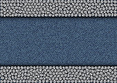 Silver sequin stripes on blue jeans background.