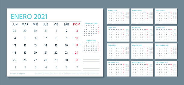 Spanish 2021 calendar. Planner template with 12 month. Vector illustration.