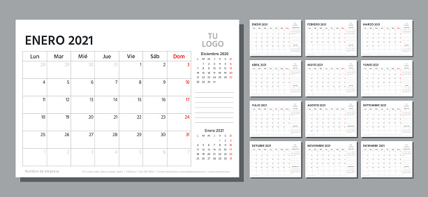 Spanish 2021 planner. Calendar template. Vector illustration. Table schedule grid.