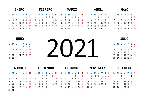 Spanish 2021 year calendar. Week starts on Monday. Vector