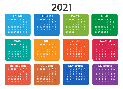 Spanish 2021 year vector calendar. Week starts on Lunes Monday.