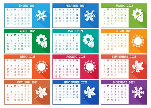 Spanish 2021 year vector calendar. Week starts on Lunes Monday