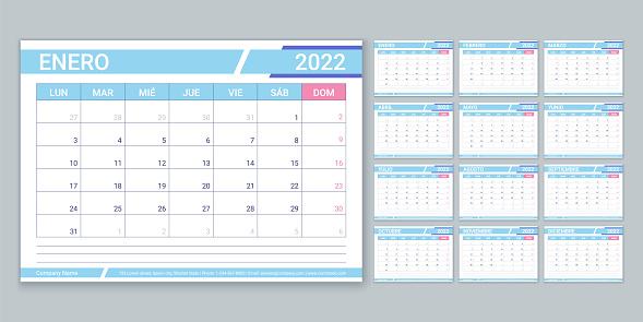 Spanish 2022 calendar. Planner template. Vector illustration. Table schedule grid.