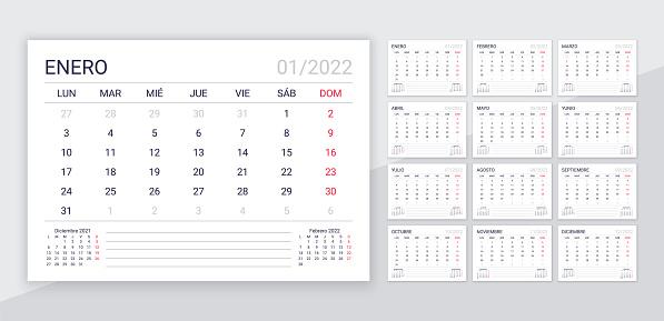 Spanish 2022 calendar template. Desk planner layout. Vector illustration.