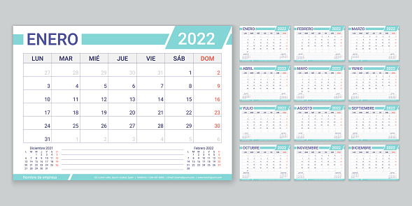 Spanish 2022 planner. Calendar template. Vector illustration. Table schedule grid.