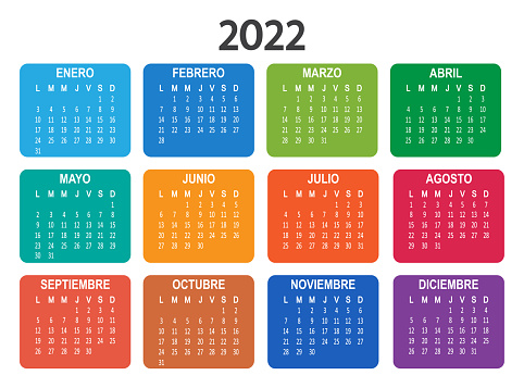 Spanish 2022 year calendar. Week starts on Monday. Vector
