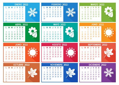 Spanish 2022 year vector calendar. Week starts on Lunes Monday.
