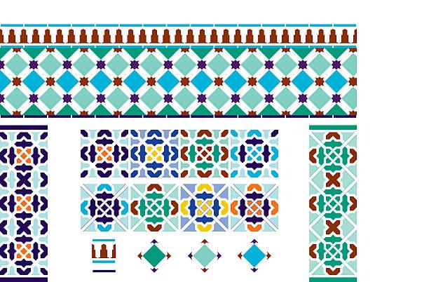 ilustrações, clipart, desenhos animados e ícones de espanhol azulejos inspirados andaluzia - comida espanhola