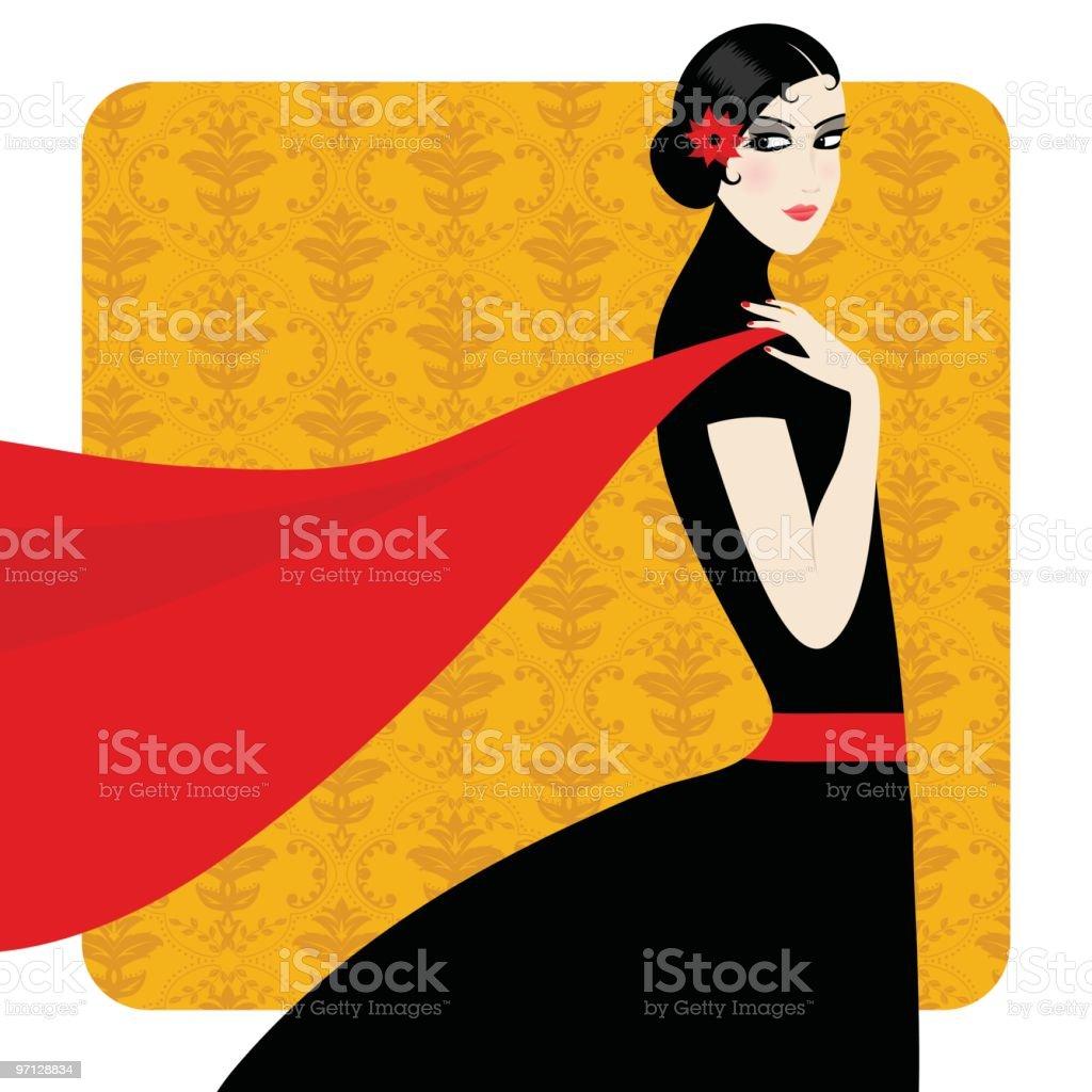 Spanish beauty vector art illustration