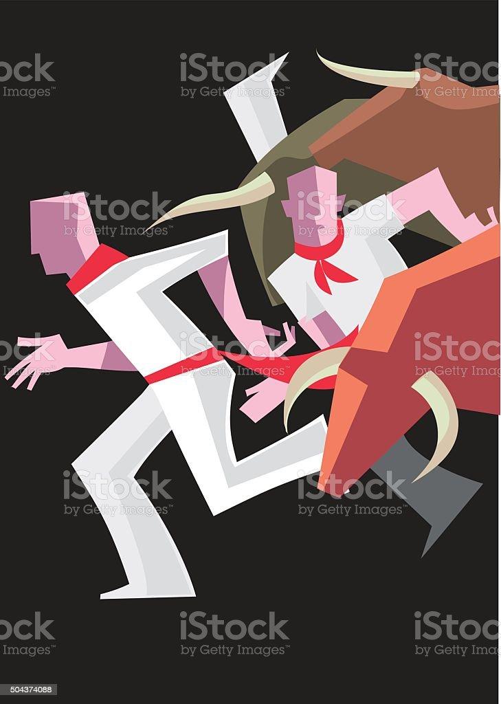 Spagnolo Bull Run - illustrazione arte vettoriale