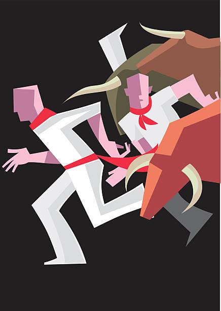 Espanhol Bull Run - ilustração de arte em vetor