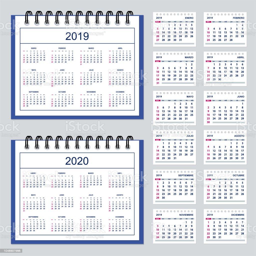 spanish business spiral desk calendar year 2019 2020 stock vector art more images of 2019. Black Bedroom Furniture Sets. Home Design Ideas