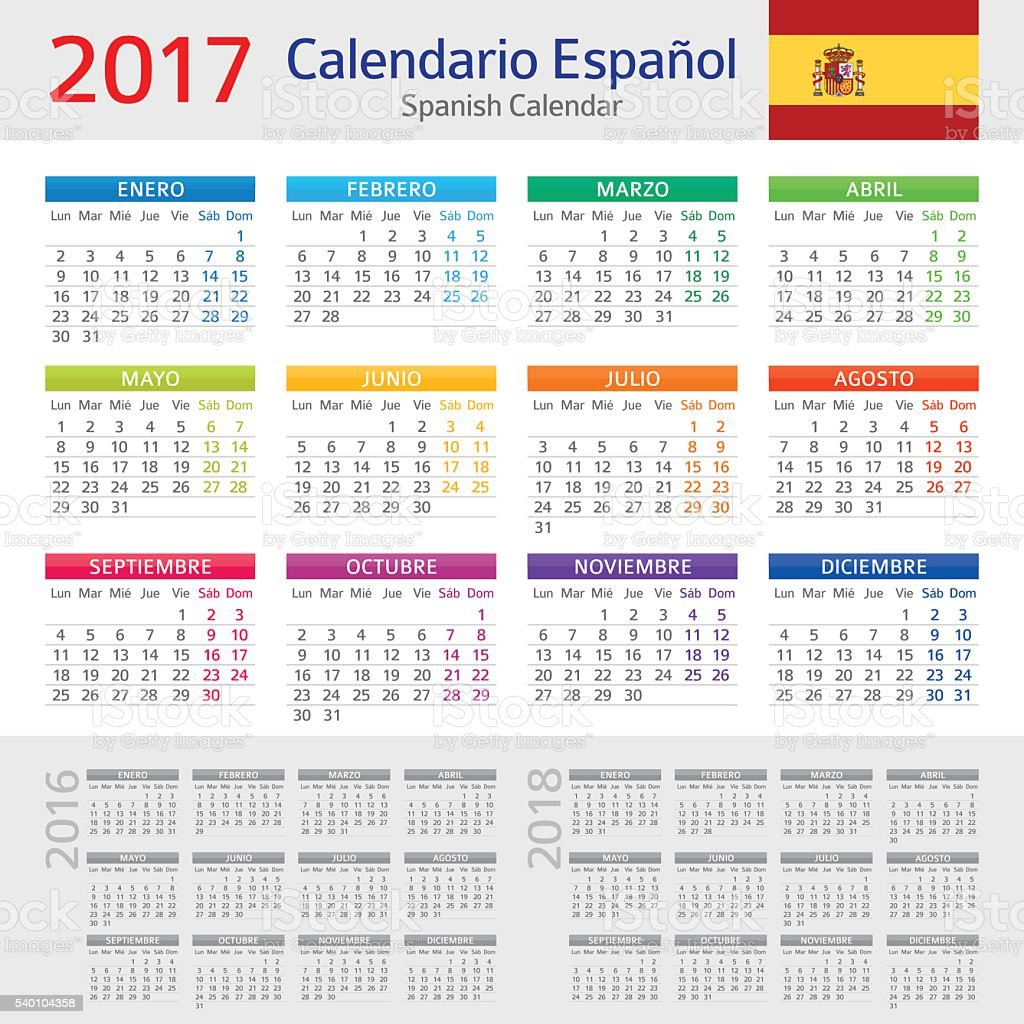 Calendario Spagnolo.Spagnolo Calendario 2017calendario Espanol 2017 Immagini