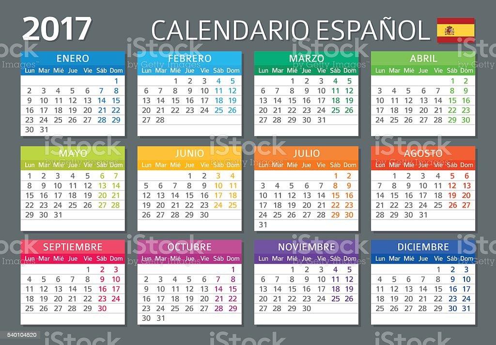 Spanish Calendar 2017 / Calendario Espanol 2017 vector art illustration
