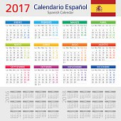 Vector illustration of Spanish Calendar for 2017 year