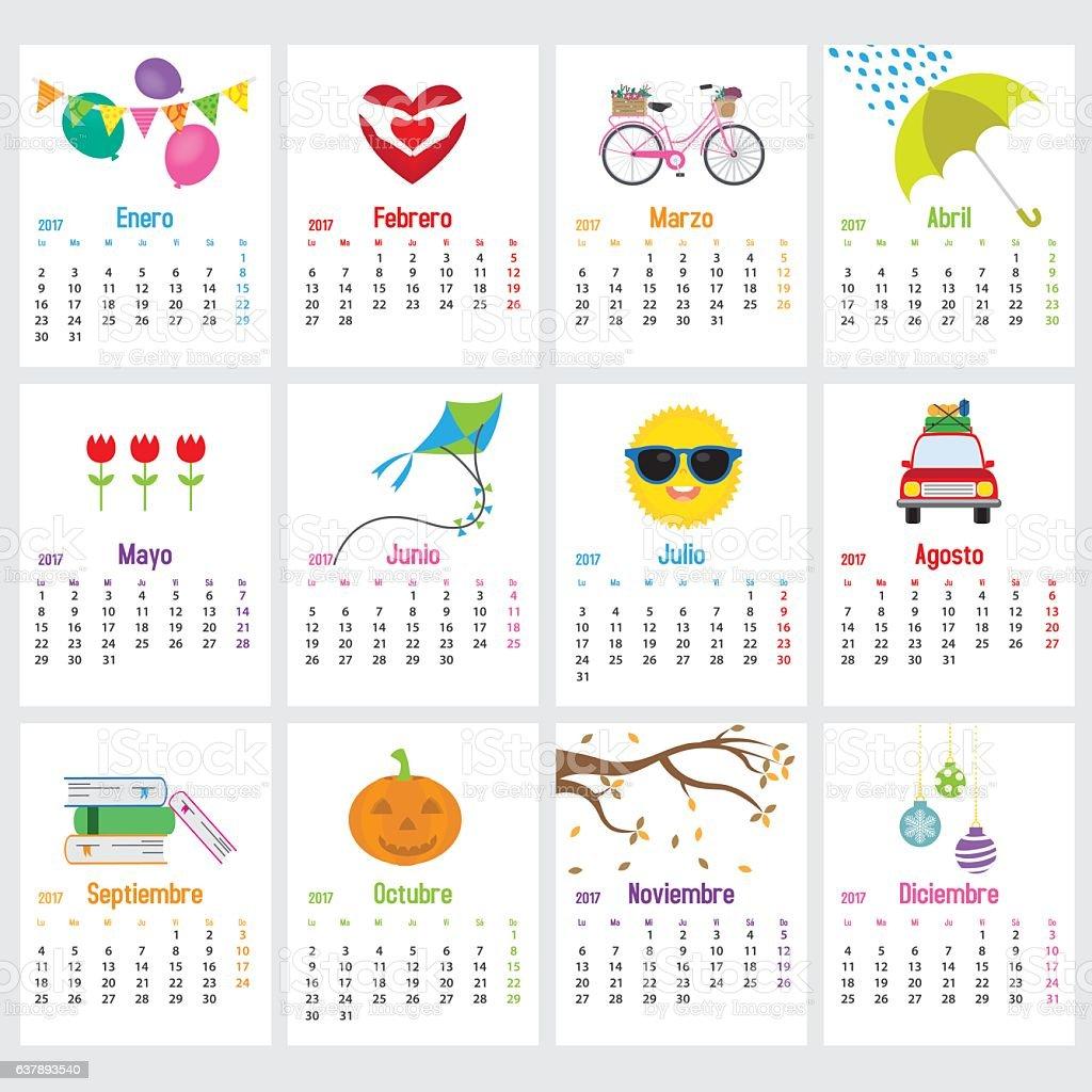 Spanish Calendar 2017 vector art illustration