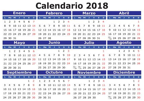 Spanish Calendar 2018 horizontal