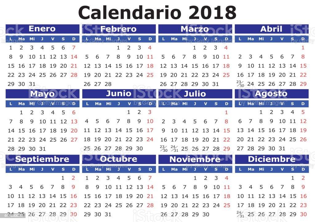 Spanish Calendar 2018 horizontal vector art illustration