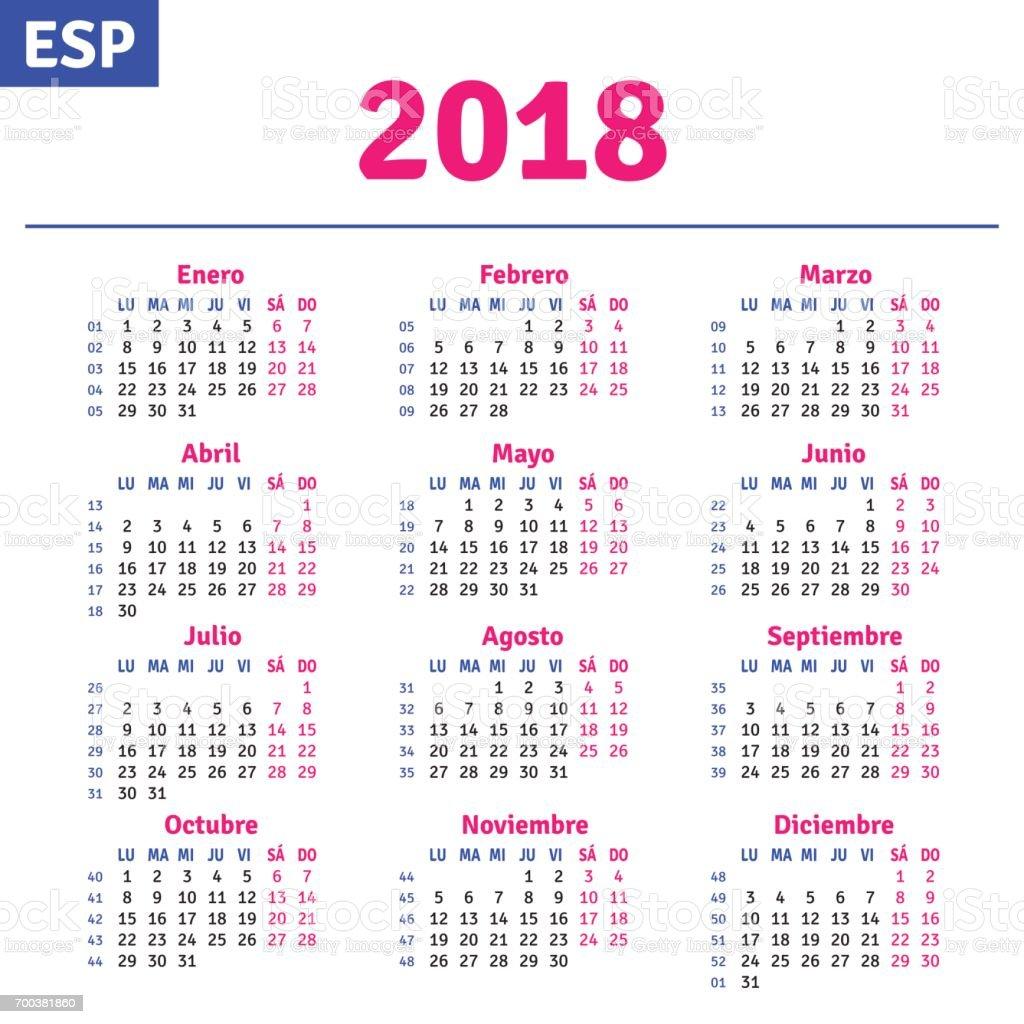 Espa ol calendario 2018 arte vectorial de stock y m s for Calendario de pared 2018