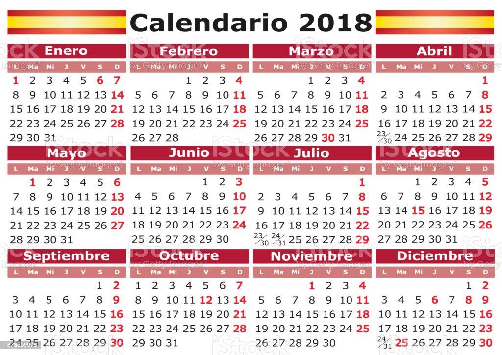 Calendario 2o18.Spanish Calendar 2018 With Festive Days Calendario De