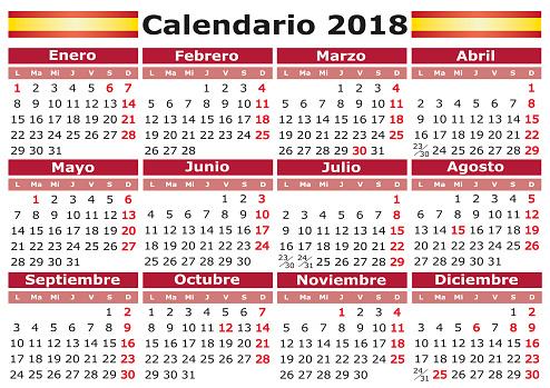 Spanish calendar 2018 with festive days calendario de bolsillo