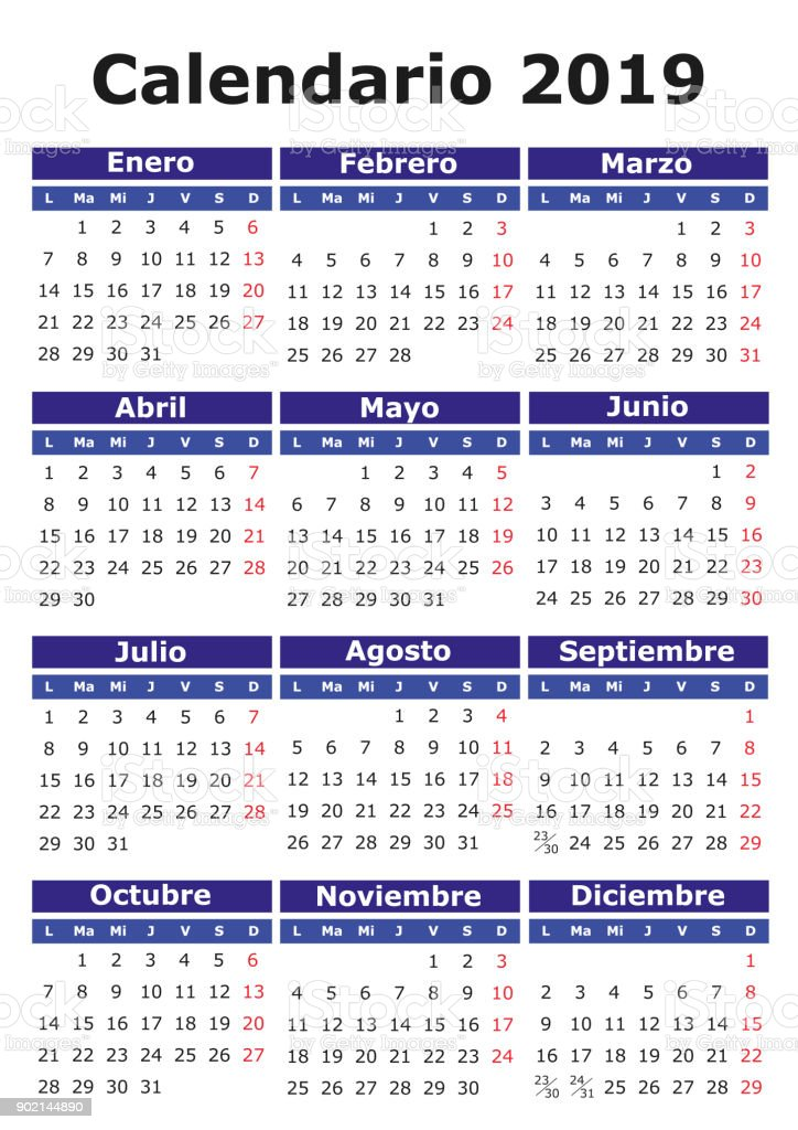 ilustraci u00f3n de espa u00f1ol calendario 2019 y m u00e1s vectores