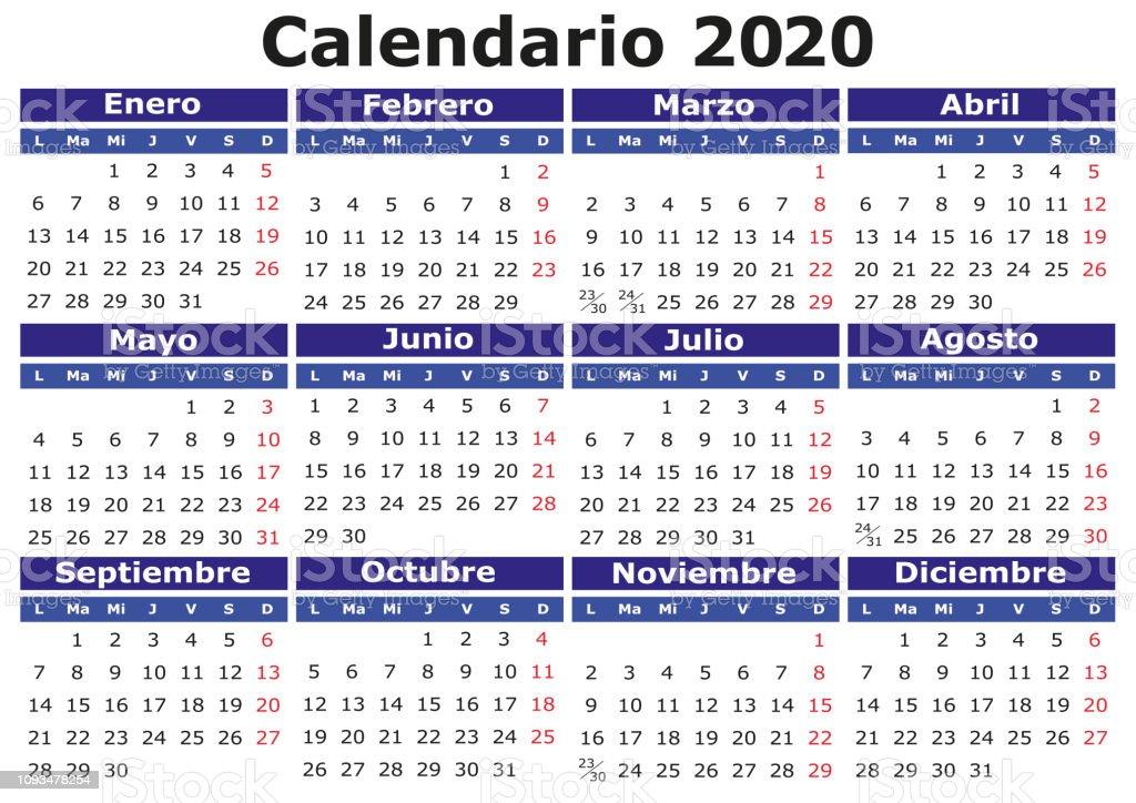 Calendario De 2020 Brasil.Vetores De Espanhol Calendario 2020 Horizontal E Mais