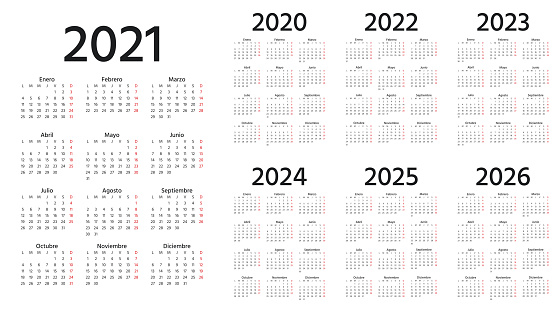 Spanish Calendar 2021, 2022, 2023, 2024, 2025, 2026, 2020 years. Vector illustration. Simple template.