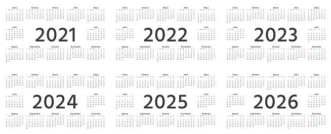 Spanish Calendar 2022.Spanish Calendar 2021 2022 2023 2024 2025 2026 Years Vector Illustration Simple Template Stock Illustration Download Image Now Istock