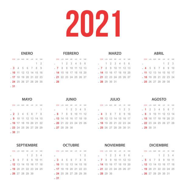 Spanish Calendar 2021 vector art illustration