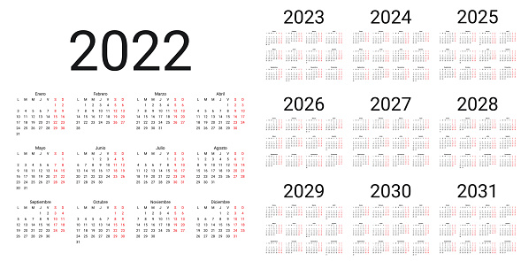 Spanish Calendar 2022, 2023, 2024, 2025, 2026, 2027, 2028, 2029, 2030, 2031 years. Vector illustration. Simple template.